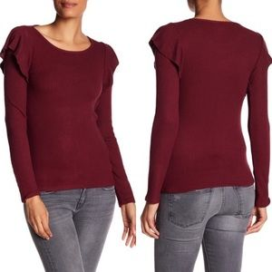 Lucky Brand Red Wine Ribbed Knit Ruffle Top Medium